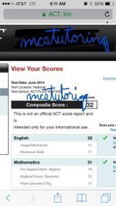 Great score of 32 resulting from ACT Preparation