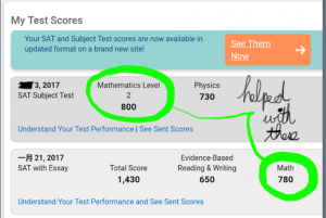 Perfect SAT Math 2 and near-perfect SAT Math Score Resulting from SAT Preparation